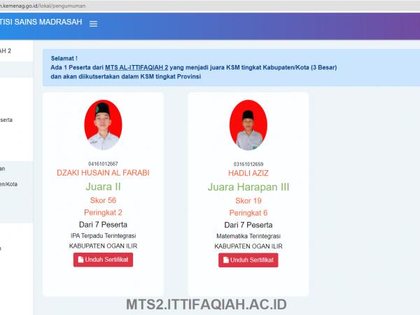 Santri MTs Al-Ittifaqiah 2 Raih Prestasi KSM 2021